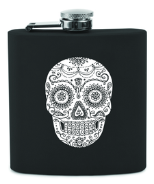 Wine Flask - Skull - Black